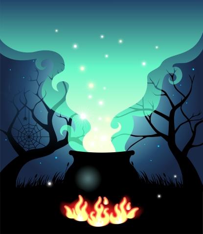 Boiling halloween cauldron