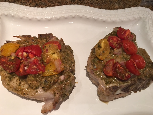 pork-chops-with-pesto-and-tomatoes