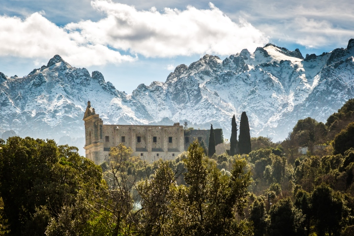 San Francesco convent and mountains at Castifao in Corsica