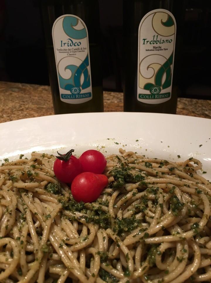 Pesto and Rio Maggio Verdicchio