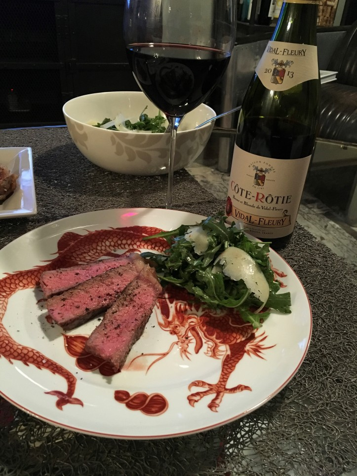 Cote Rotie and Strip Steak Plated