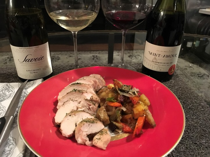 Roast Chicken and Veg Plated with Savoie and Saint Amour