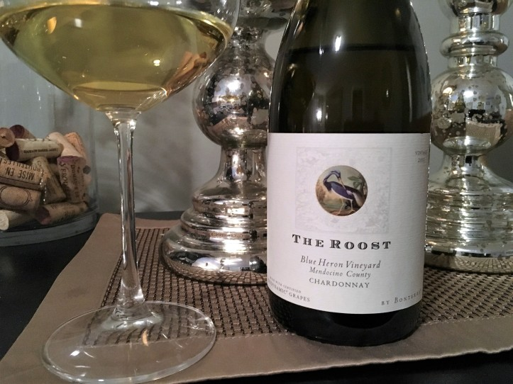 The Roost Chardonnay Bottle and Glass