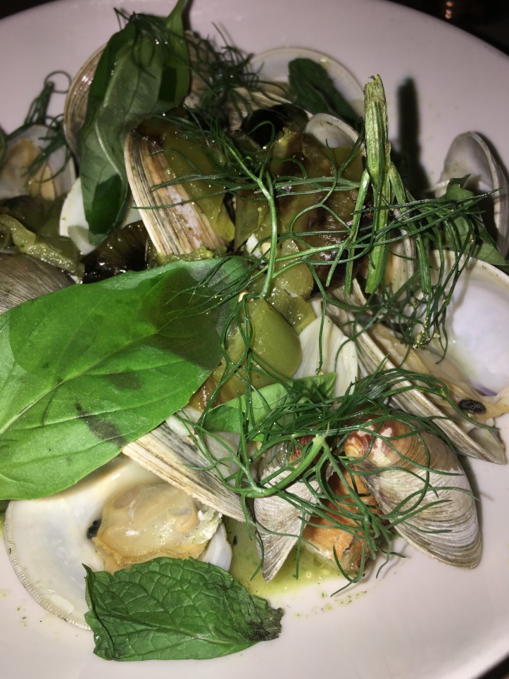 Clams with Fennel and Roasted Pepper and Basil