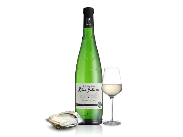 Picpoul Glass with Oyster Domaine RJ Website