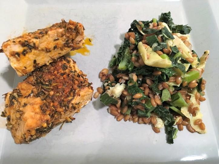 Salmon and Farro Salad Plated