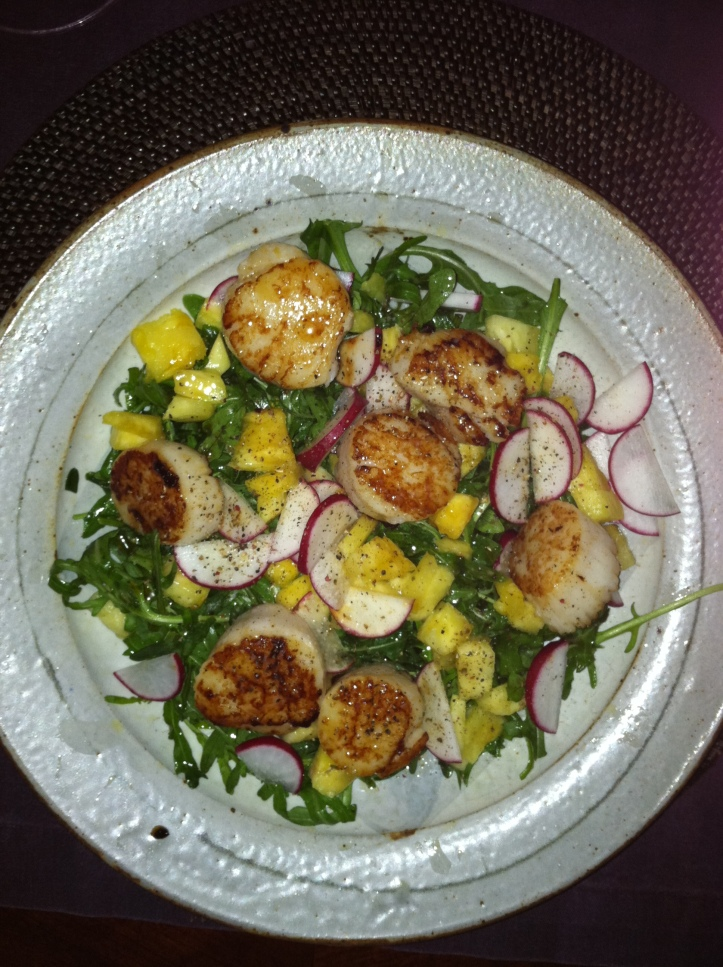 Seared Scallops with Pineapple and Radish