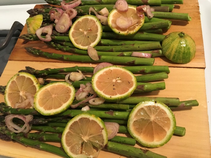 Asparagus and Pink Lemons on Chardonnay Plank Prepped