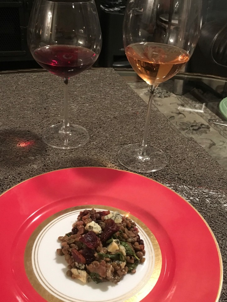 Lentils on Fancy Plate with Two Glasses