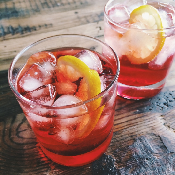 Campari with soda and lemon
