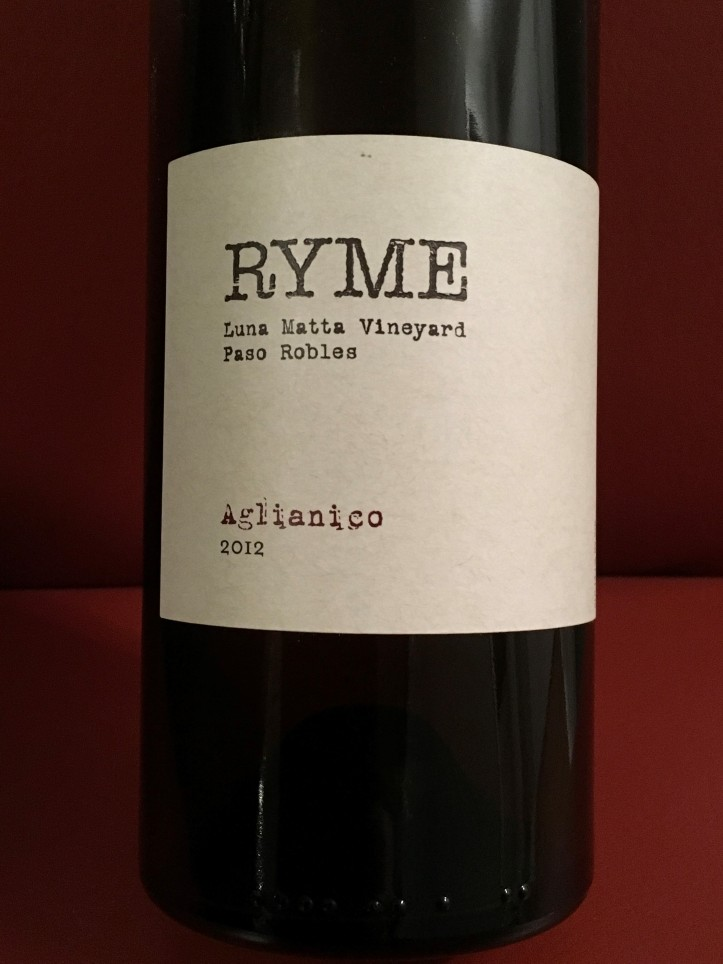 Ryme Aglianico Label