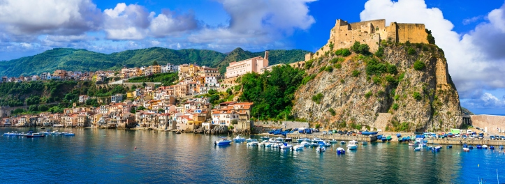 Beautiful coastal town Scilla in Calabria. view with medieval castle Ruffo. Italy
