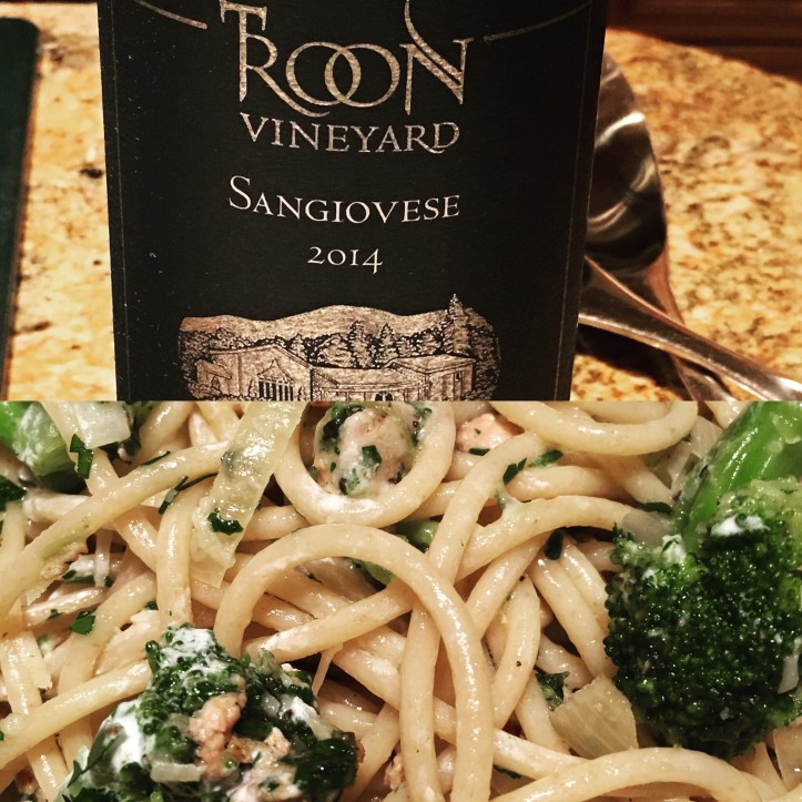 Sangiovese and Pasta Close Up