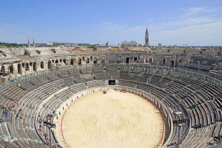 Ancient roman Amphitheater in Nimes, France