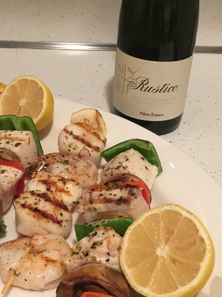 Rustico with Shellfish Kebabs