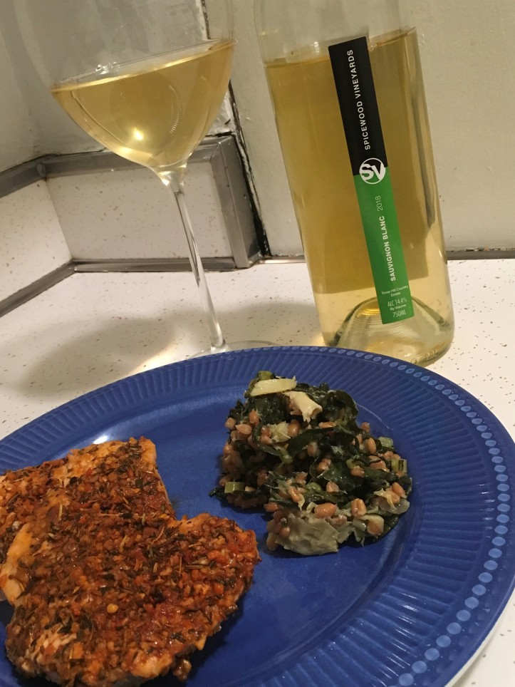 SB and Salmon with Kale Artichoke Salad