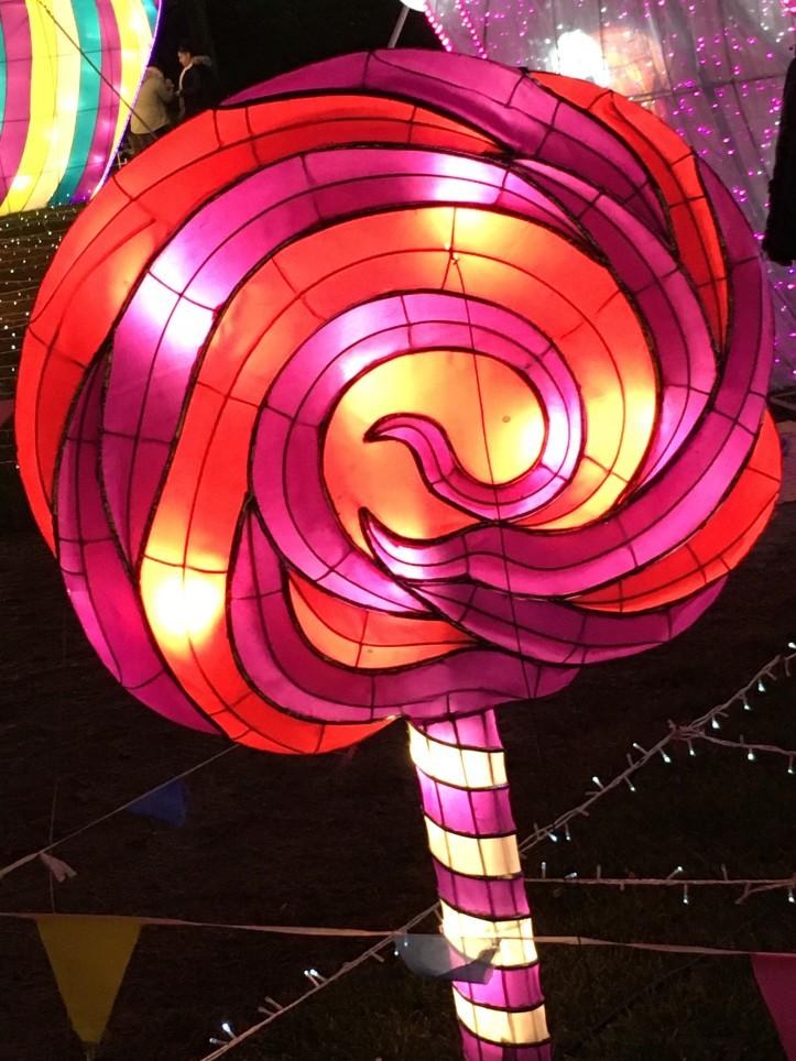 Pink and Orange Swirl Lollipop