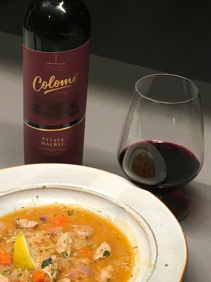 Estate Malbec with Lentil Soup
