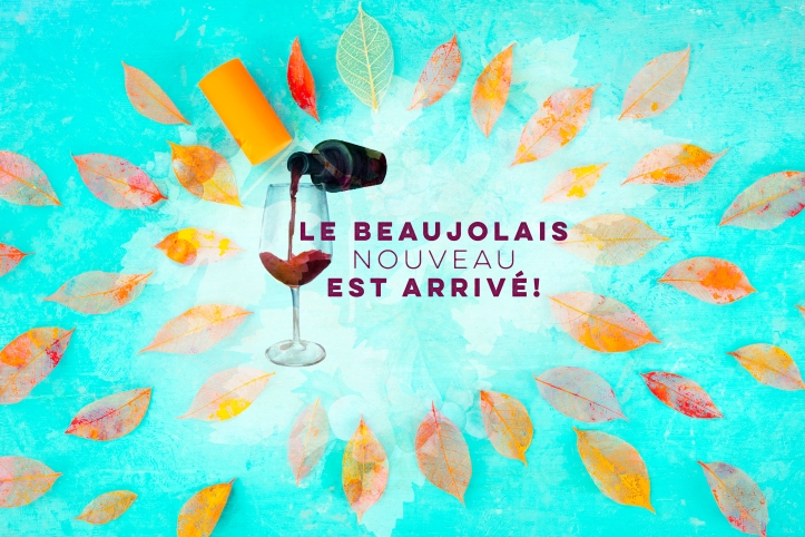 Beaujolais Nouveau poster design. The new wine has arrived. With watercolor glass and bottle, autumn leaves and typography, with a place for text and logo